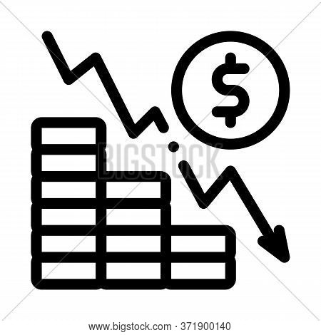 Monetary Decline Icon Vector. Monetary Decline Sign. Isolated Contour Symbol Illustration