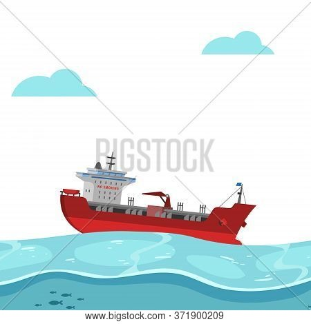Boat Floating On Sea, Bright Background, Blue Water, Waves On Ocean, Colorful Banner, Design, Cartoo