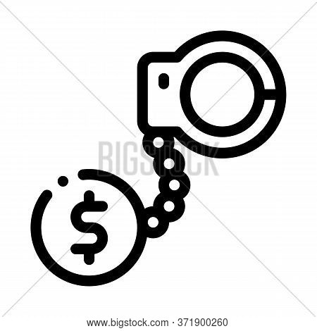 Jail Or Freedom For Money Bail Icon Vector. Jail Or Freedom For Money Bail Sign. Isolated Contour Sy