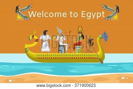Inscription Welcome To Egypt, Bright Banner, Interesting Journey, Egyptian Ancient Culture, Cartoon