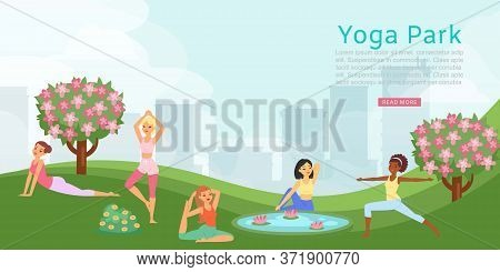 Lettering Yoga Park, Banner Ad, Female Fitness Training, Health People Activities, Design, Cartoon S