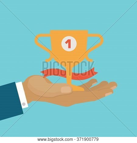Victory Concept, Business Winner Cup, Be First, Victory Achievement Best Prize, Design, Cartoon Styl