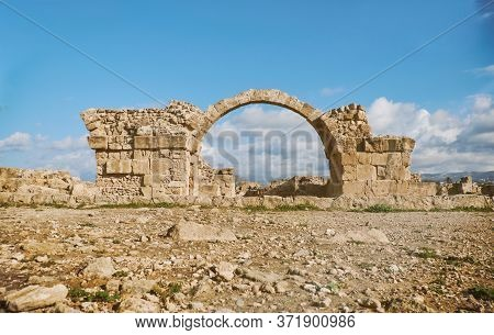 Ancient Roman Arche In Paphos Archaeological Park At Kato Pafos In Cyprus