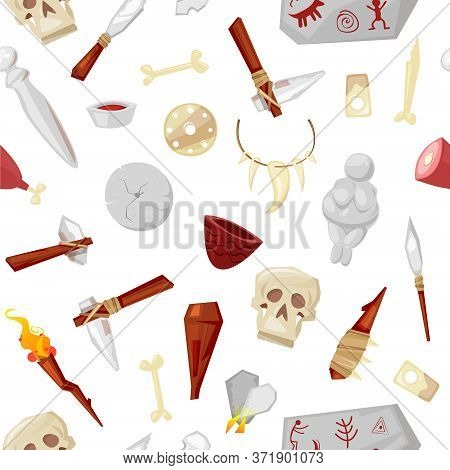 Caveman Tools, Weapon And Objects, Elements Of Life In Stone Age, Cave Mammoth Bone, Skull And Gods