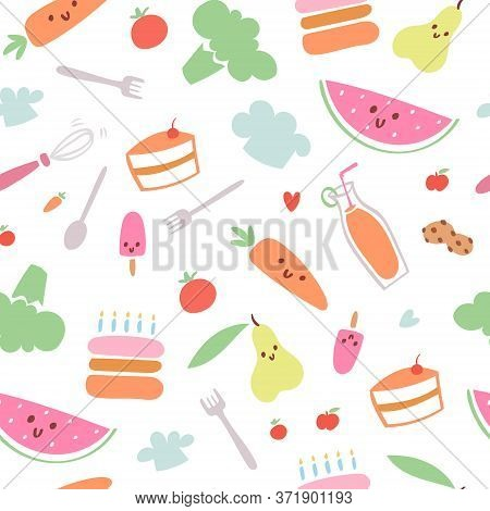 Food Menu For Kids Seamless Pattern, Vector Illustration. Fresh Healthy Cartoon Fruit For Baby Wallp