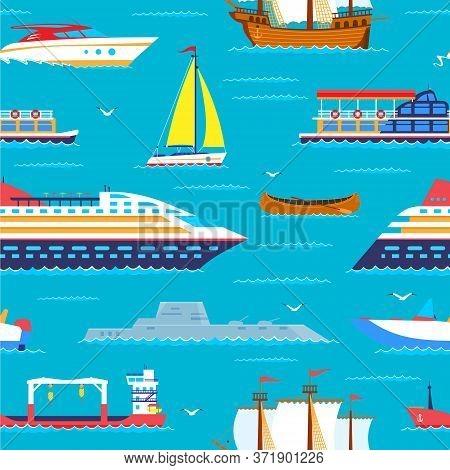 Sea Travel Seamless Pattern Cruiser In Ocean, Marine Vacation Nautical Cartoon Vector Illustration.