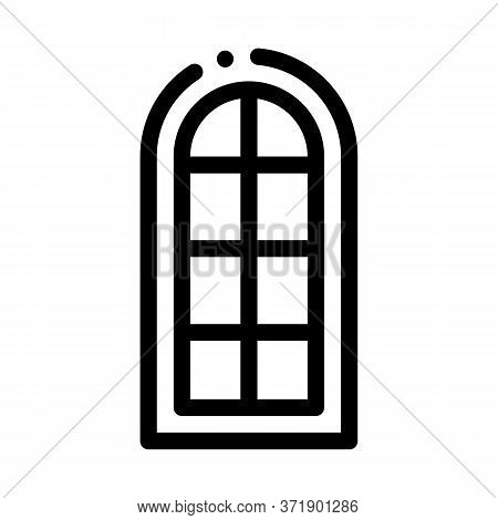 Arched Window Consisting Of Square Glasses Icon Vector. Arched Window Consisting Of Square Glasses S