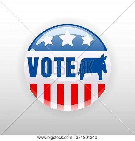 I Vote United States Of America Button Election, Badge, Donkey Symbol Of A Democratic Party. Vector