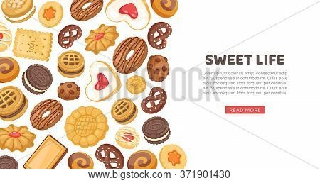 Cake Banner, Sweet Life Vector Illustration. Cookie, Cupcake Sweet Food Pastry, Delicious Design Web