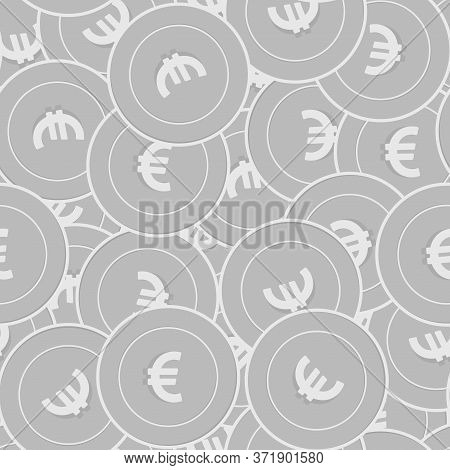 European Union Euro Silver Coins Seamless Pattern. Modern Scattered Black And White Eur Coins. Succe