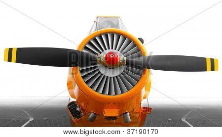 Vintage propeller plane close up. poster