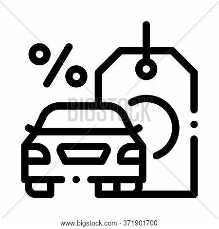 Car Purchase At Interest Icon Vector. Car Purchase At Interest Sign. Isolated Contour Symbol Illustr