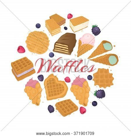 Waffle Dessert Food Backgrond, Vector Illustration. Tasty Lunch Meal, Wafer Snack With Cream At Bake