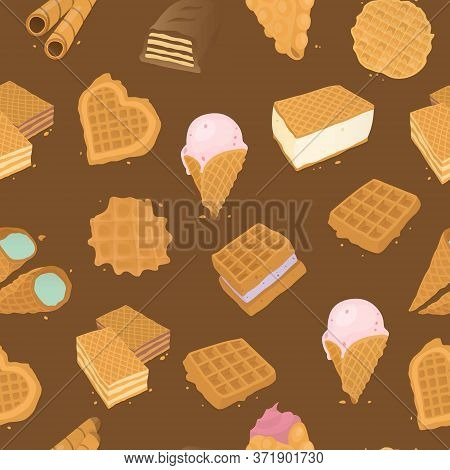 Food Delicious Dessert, Waffle Seamless Pattern Vector Illustration. Sweet Tasty Pastry, Cone With C