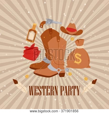 Western Cowboy American Party, Vector Illustration. Vintage Rodeo Banner Design With Boots, West Gru