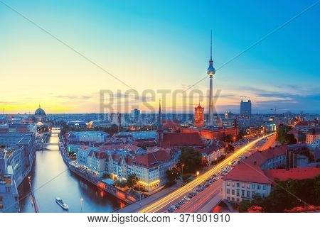 Skyline Of Berlin In The Evening, Skyline Of Berlin In Germany With Tv Tower, Berlin Town Hall And A