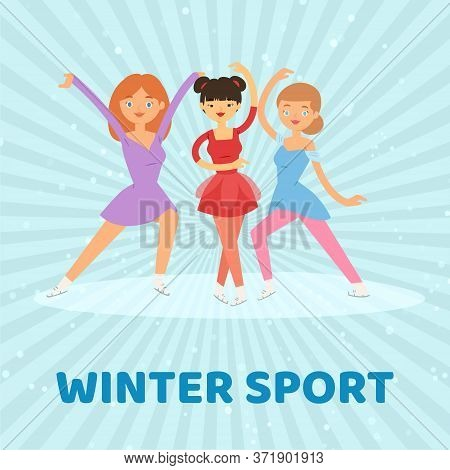 Figure Skate, Winter Sport Vector Illustration. Active Woman Female Girl Character At Ice, Cartoon Y