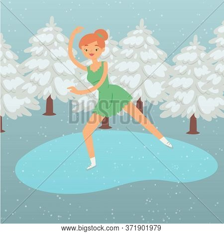 Winter Background, Cartoon Woman Skater Vector Illustration. Sport Female Active Figure Skating At I