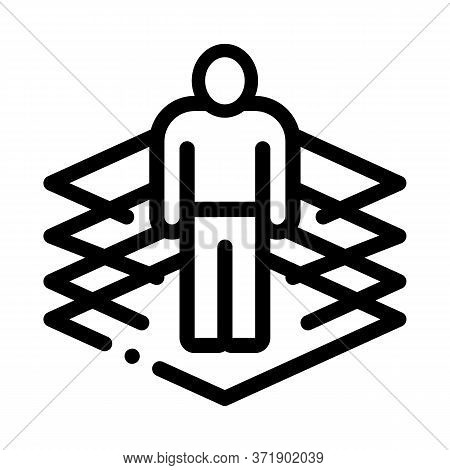 Transfer Of Man Into Virtuality Icon Vector. Transfer Of Man Into Virtuality Sign. Isolated Contour