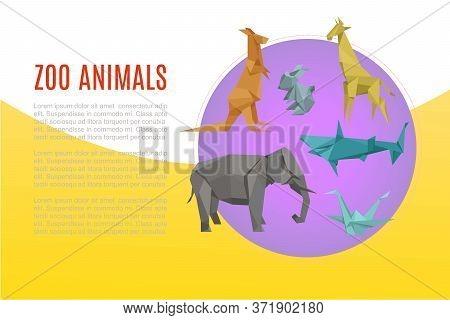Animal Zoo Banner, Cartoon Exotic Nature, Vector Illustration. Wild And Zoo Character, Jungle Wildli