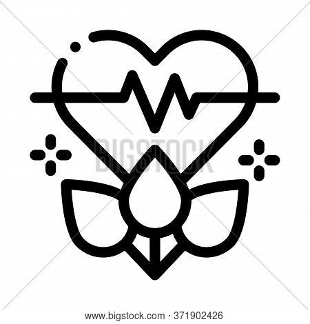 Plant For Restoration Of Heart Icon Vector. Plant For Restoration Of Heart Sign. Isolated Contour Sy