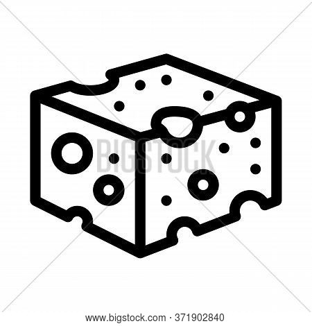 Coarse Cheese Bar Icon Vector. Coarse Cheese Bar Sign. Isolated Contour Symbol Illustration