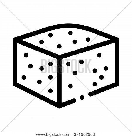 Piece Of Blue Cheese Icon Vector. Piece Of Blue Cheese Sign. Isolated Contour Symbol Illustration