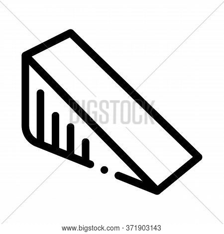 Triangular Piece Of Cheese Icon Vector. Triangular Piece Of Cheese Sign. Isolated Contour Symbol Ill