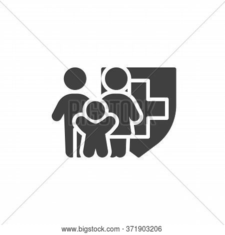 Family Health Insurance Vector Icon. Filled Flat Sign For Mobile Concept And Web Design. Family Medi