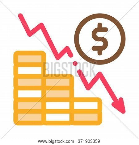 Monetary Decline Icon Vector. Monetary Decline Sign. Color Symbol Illustration