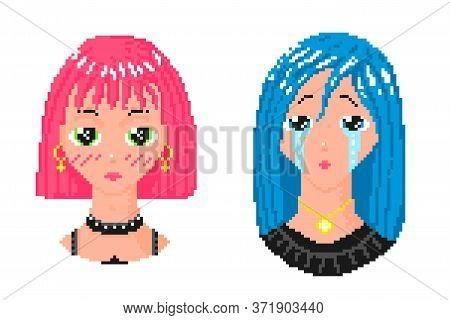 Crying Anime Girl. Pixel Art 8 Bit Object. Fashion Character Avatar. Retro Game Assets. Dreamy Video