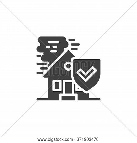 Catastrophe Insurance Vector Icon. House, Tornado And Shield Filled Flat Sign For Mobile Concept And