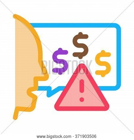 Thought Story Man About Monetary Warnings Icon Vector. Thought Story Man About Monetary Warnings Sig