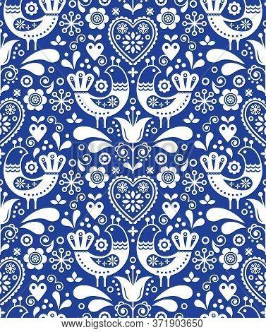 Scandinavian Seamless Folk Art Pattern With Birds And Flowers, Nordic Floral Design, Retro Backgroun