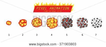 Nuclear Explosion. Pixel Art 8 Bit Fire Objects. Game Icons Set. The Evolution Of A Comic Boom Flame