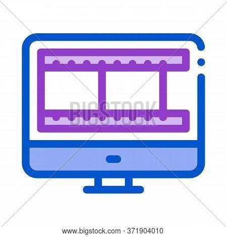 Video Temporary Tape In Computer Icon Vector. Video Temporary Tape In Computer Sign. Color Symbol Il