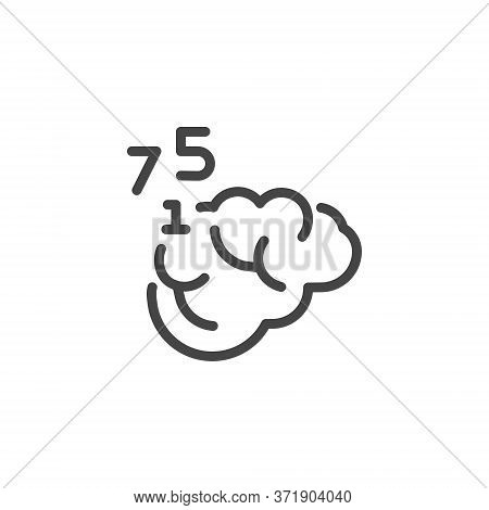 Thin Outline Icon Human Memory, Counting Or Mathematical Calculating. Such Line Sign As Human Brain