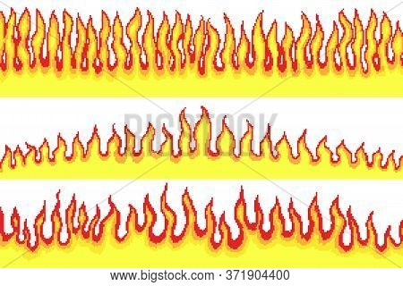 Flame Background. Pixel Art 8 Bit Fire Objects. Mushroom Cloud. Game Icons. Comic Boom Effects. Bang