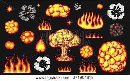 Nuclear Explosion. Pixel Art 8 Bit Fire Objects. Mushroom Cloud. Game Icons Set. Comic Boom Flame. B