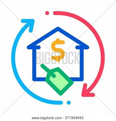 Repeat Home Financing Percentage Icon Vector. Repeat Home Financing Percentage Sign. Color Symbol Il