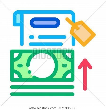 Transfer Money To Paper Icon Vector. Transfer Money To Paper Sign. Color Symbol Illustration