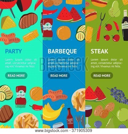 Cartoon Color Barbeque Picnic Concept Banner Vecrtical Set Include Of Grill, Sausage, Meat, Vegetabl