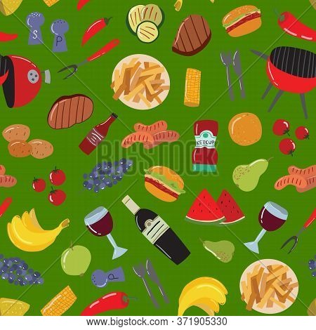 Cartoon Color Barbeque Picnic Concept Seamless Pattern Background Include Of Grill, Sausage, Meat, V