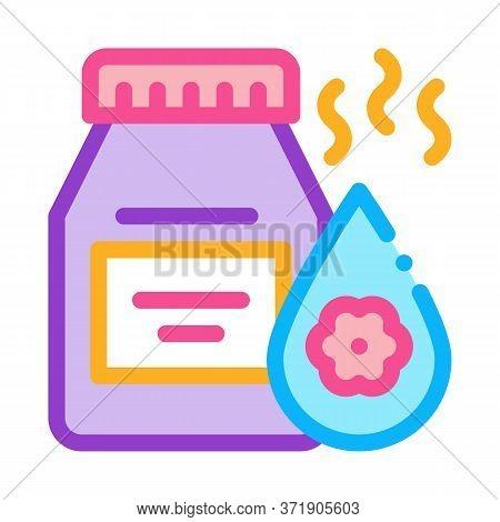 Floral Elixir Bottle Icon Vector. Floral Elixir Bottle Sign. Color Symbol Illustration