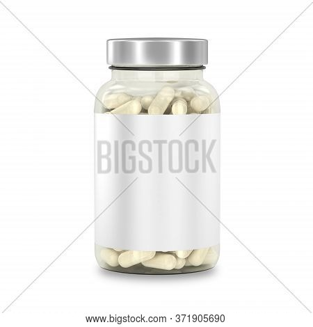 Glass Jar With Medicines. Bottle Of Supplement Capsules Isolated On White. Mockup With Label. 3d Ren