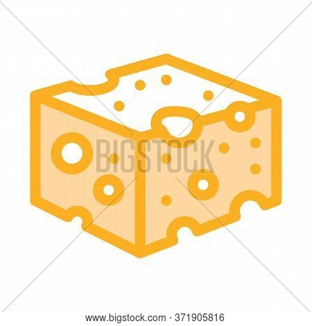 Coarse Cheese Bar Icon Vector. Coarse Cheese Bar Sign. Color Symbol Illustration