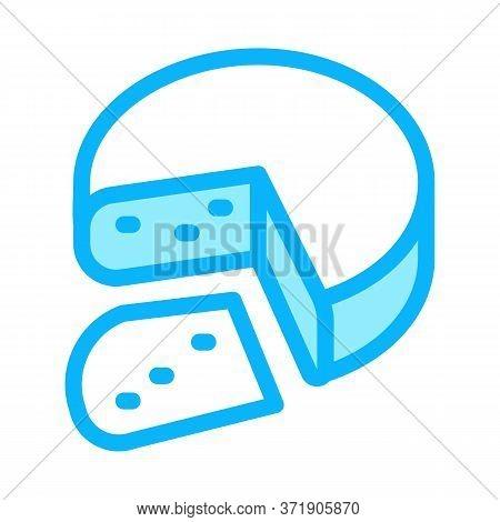 Mozzarella Cheese Head Icon Vector. Mozzarella Cheese Head Sign. Color Symbol Illustration