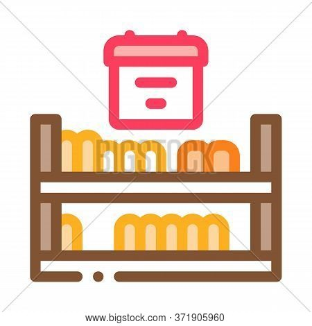 Cheese Shelf Counter Icon Vector. Cheese Shelf Counter Sign. Color Symbol Illustration