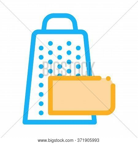 Grate Cheese Icon Vector. Grate Cheese Sign. Color Symbol Illustration