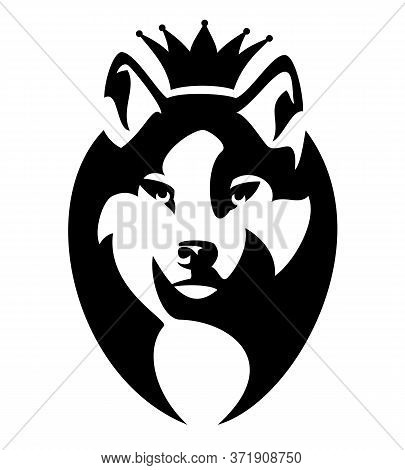 Wolf Wearing King Crown - Royal Animal Head Black And White Vector Portrait
